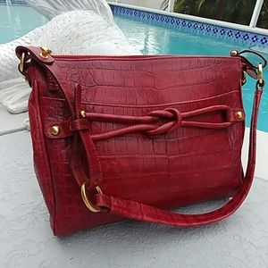 Brahmin Croc embossed brick red shoulder bag